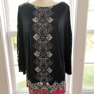 Style& Co Black & Red Tunic Blouse Sz 1x
